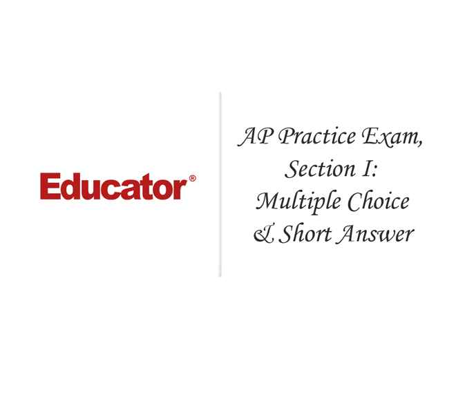 62 AP Practice Exam Section I Multiple Choice And Short